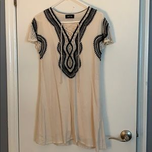 Cream and Black Embroidered Dress